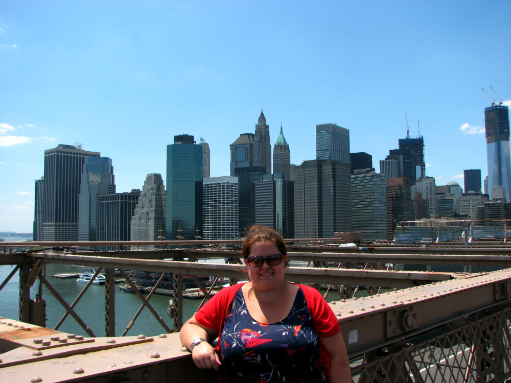 Jen on the Brooklyn Bridge, NYC