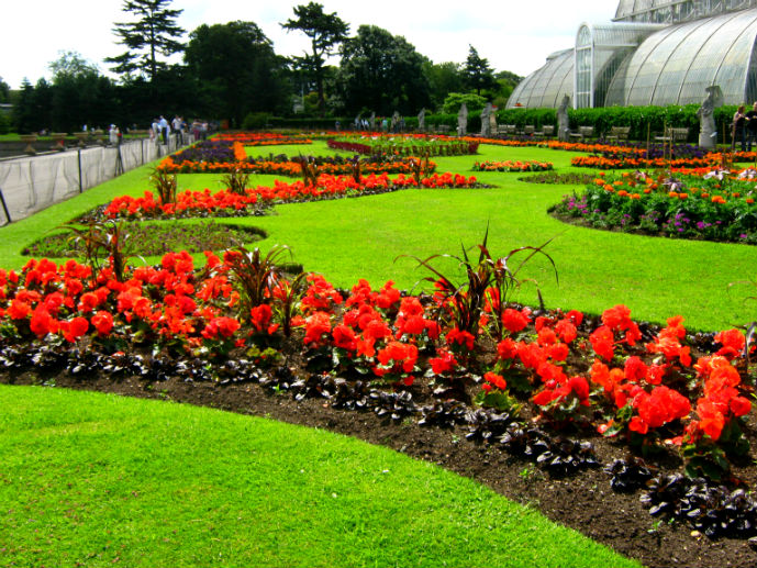 Colourful garden infront of the Palm House