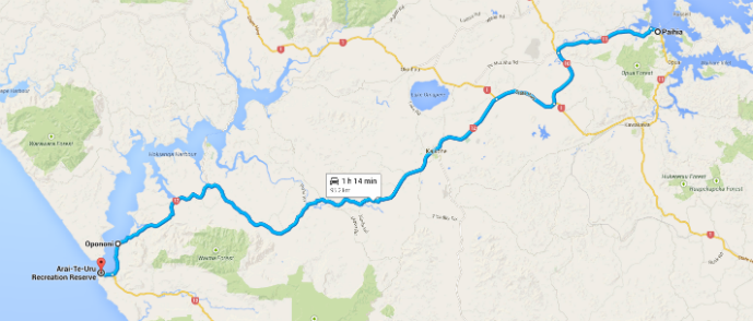 Paihia to Hokianga Map