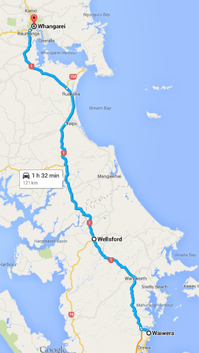 Waiwera to Whangarei Map