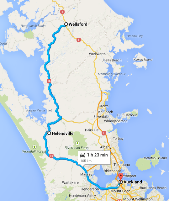 Wellsford to Auckland Map