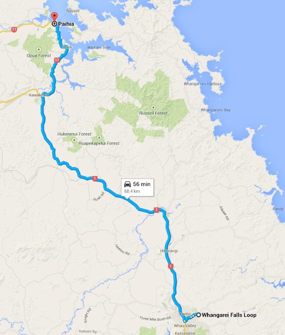 Whangarei to Paihia Map