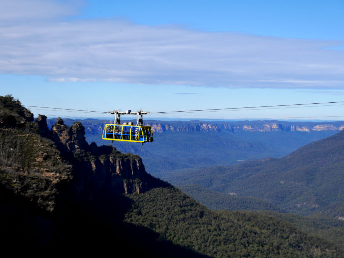 An iconic Blue Mountains shot from Katoomba Cascades Lookout, the Skyway with the Three Sisters in the background