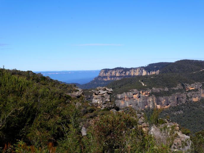 Looking down the Narrow Neck Plateau from the lookout