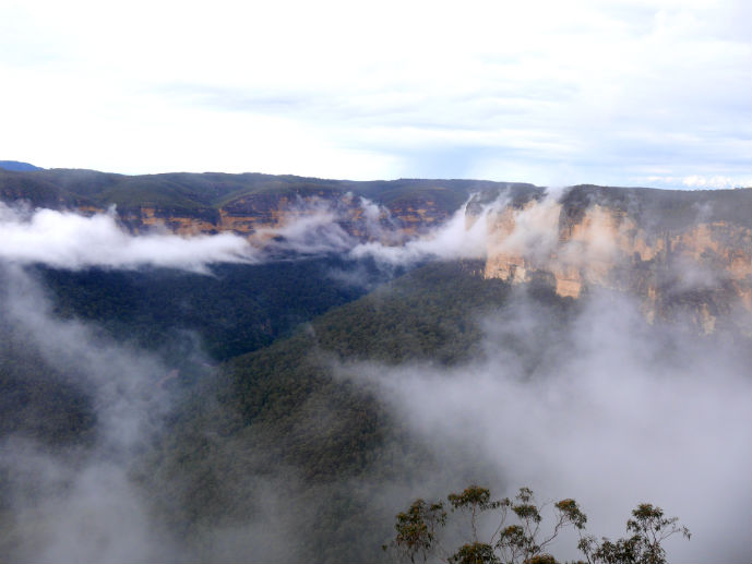 Low cloud hangs over Evans Lookout