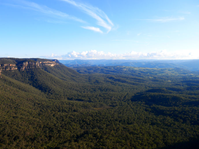 The Megalong Valley and Narrow Neck Plateau viewed from Cahills Lookout