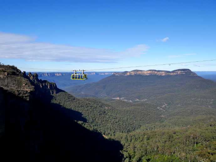 The view from Katoomba Cascades looking back at the Jamison Valley