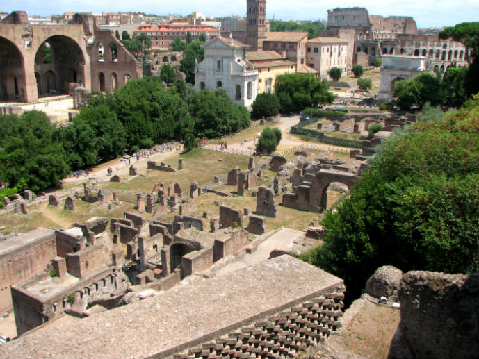 The view of the Roman Forum from Palatine Hill