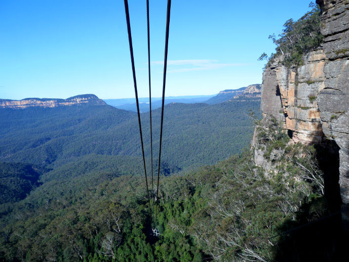 Descending into the rainforest on the Cableway - Visiting Scenic World in Australia's Blue Mountains
