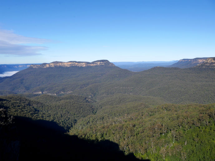 Looking over the Jamison Valley from the Skyway - Visiting Scenic World in Australia's Blue Mountains