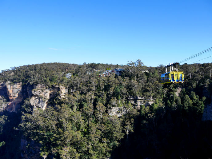 The Skyway making it's way across the valley - Visiting Scenic World in Australia's Blue Mountains