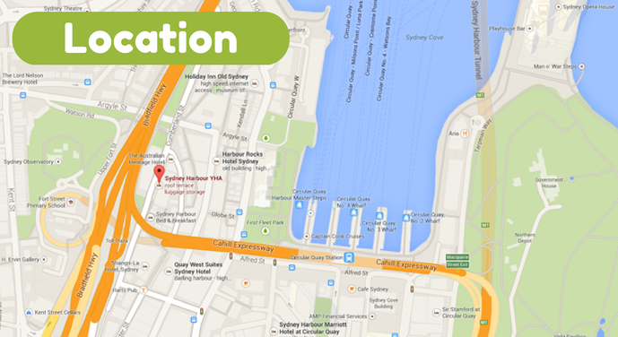 Location map - Hostel Review: Sydney Harbour YHA - The Trusted Traveller
