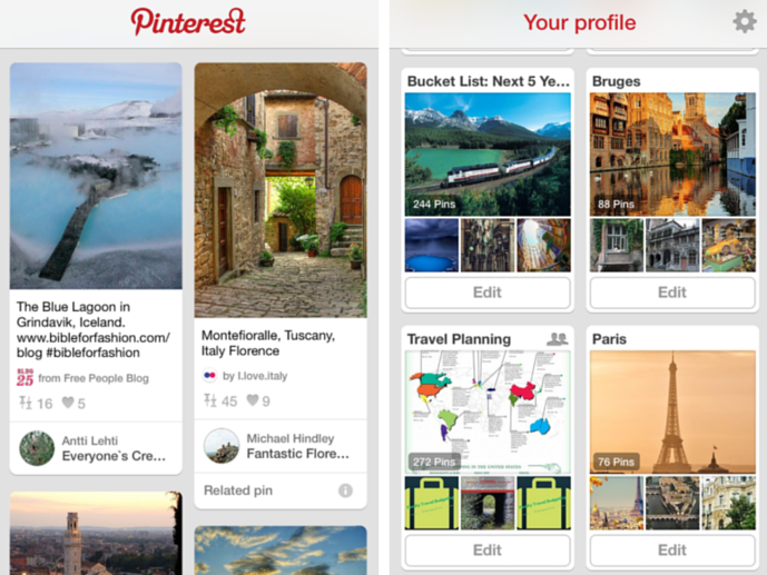 Pinterest - on the left, 'pins' and on the right a few of my 'boards' - Finding Destination Inspiration - The Trusted Traveller