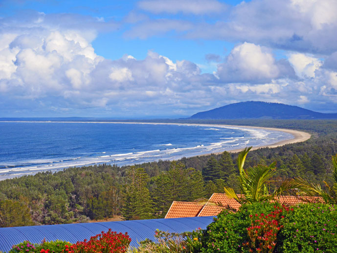 View of Seven Mile Beach from Kingsford Smith Lookout - Exploring the Grand Pacific Drive - The Trusted Traveller