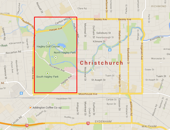 Location map of Christchurch Botanic Gardens - Spring Time in Christchurch Botanic Gardens - The Trusted Traveller