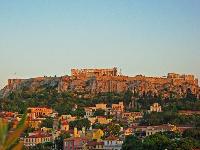 The view from the rooftop bar at the AthenStyle Hostel in Athens