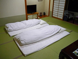 A room at the Yufuin Sansuikan Onsen Ryokan, Japan, made up for the night- Where to Stay - The Trusted Traveller