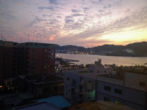 Nice sunset view from the NewTanda Hotel in Nagasaki, Japan- Where to Stay - The Trusted Traveller