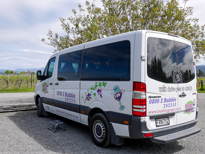 Our transport for the day with Bubbly Grape Wine Tours - Sipping Sav: A Tour of The Marlborough Wine Region - The Trusted Traveller