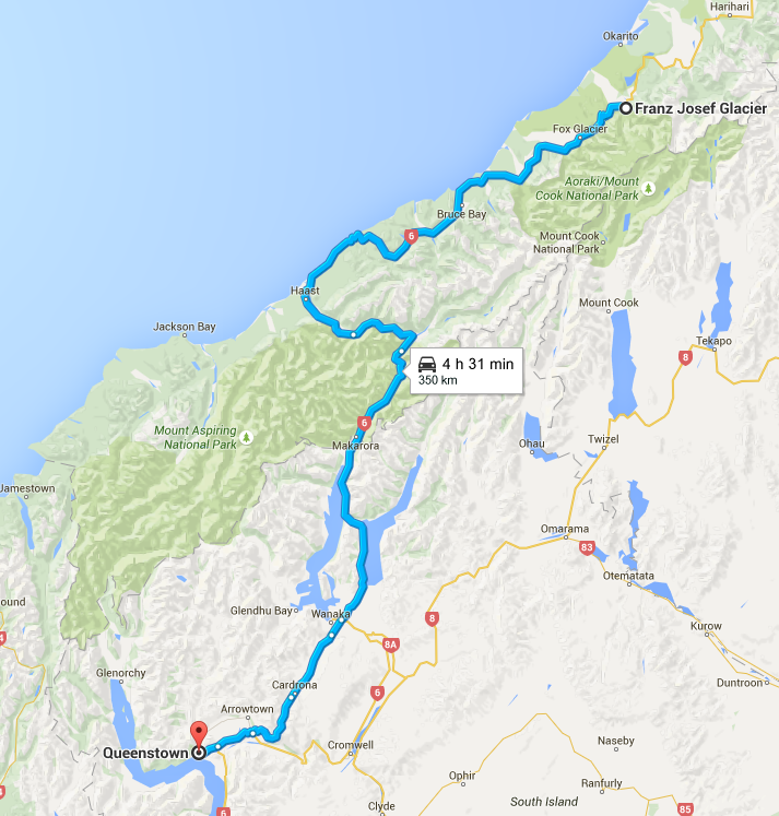 A map of option one, driving the Crown Range - The Spectacular Drive from Franz Josef to Queenstown - The Trusted Traveller