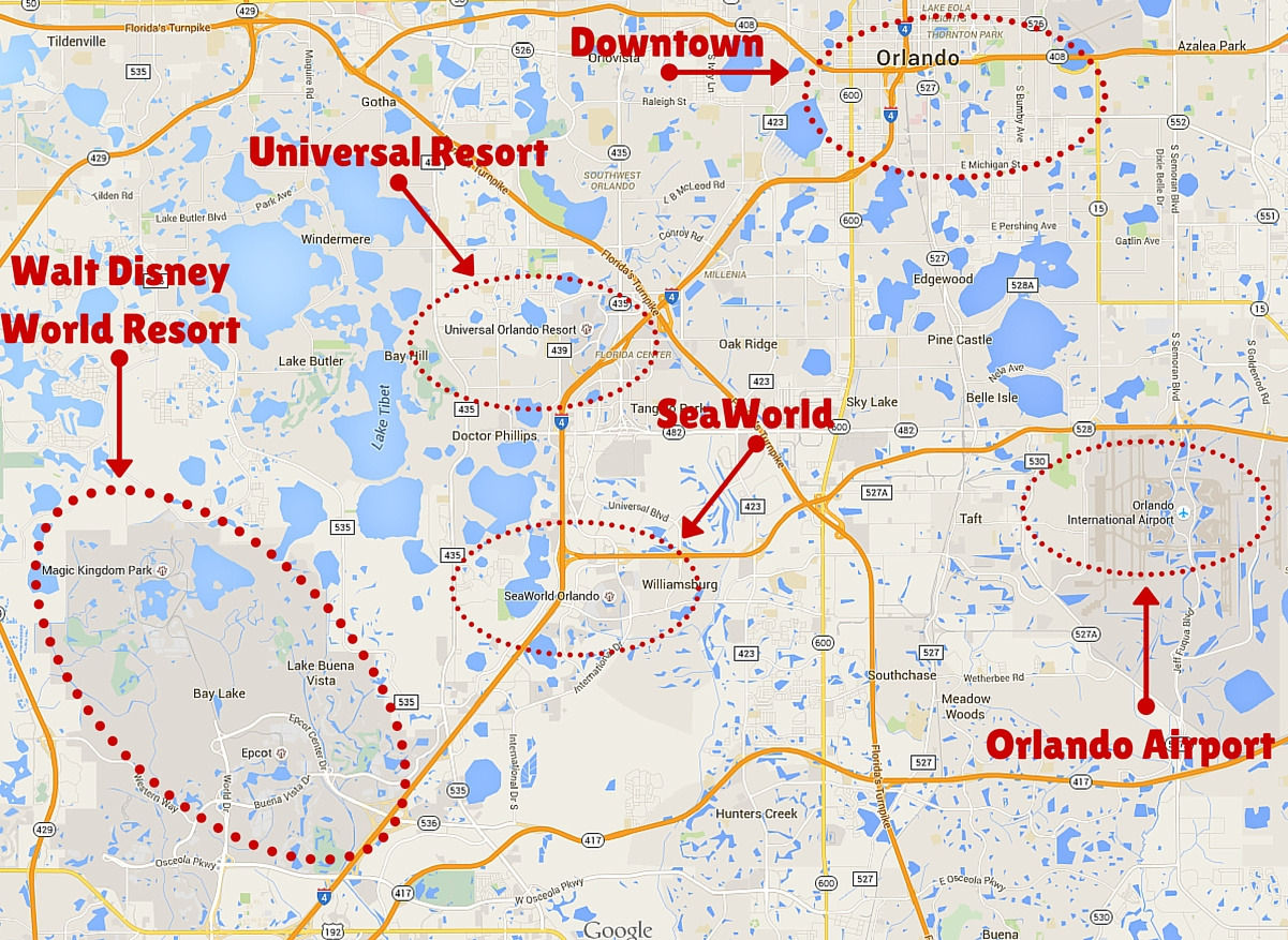 Orlando Theme Park Area Map