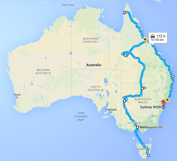 Driving Melbourne to Sydney via Cape York and the Queensland Coast