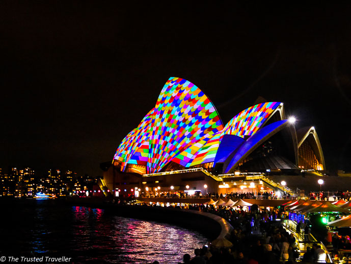 Light installations on the Sydney Opera House for Vivid Festival - 35 Free Things to Do in Sydney - The Trusted Traveller