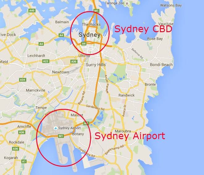 Sydney CBD in comparison to the location of the airport - Getting Around Sydney - The Trusted Traveller
