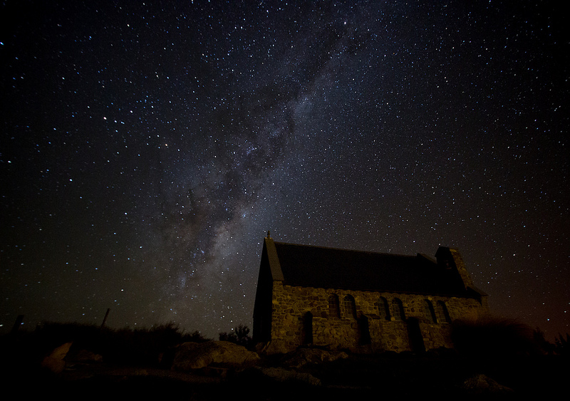 The Milky Way above the Church of the Good Shepherd in Lake Tekapo - Things to Do in New Zealand's Mackenzie Basin - The Trusted Traveller