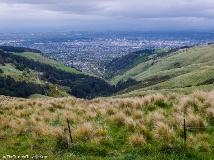 View from the Port Hills looking down over Christchurch - What to See on a Day Trip to Akaroa from Christchurch - The Trusted Traveller