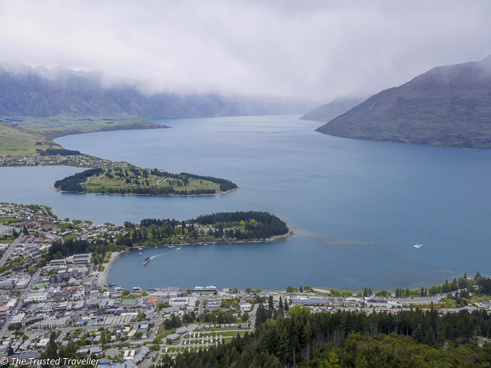 The view of Lake Wakatipu and Queenstown from the Skyline Gondola - The 10 Most Stunning Lakes on New Zealand's South Island - The Trusted Traveller