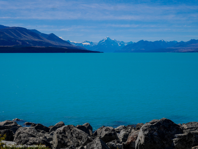 Lake Pukaki and Aoraki Mt Cook in the distance - Things to Do in New Zealand's Mackenzie Basin - The Trusted Traveller