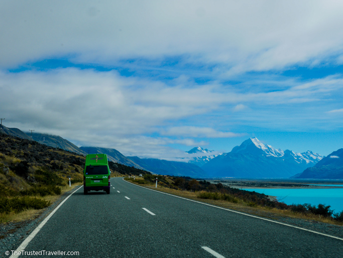 Lake Pukaki on the road to Mt Cook Village - The 10 Most Stunning Lakes on New Zealand's South Island - The Trusted Traveller