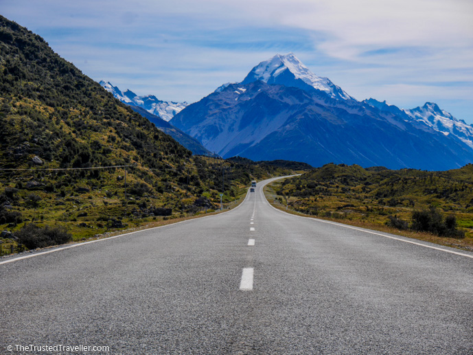 The road leading to Aoraki Mt Cook Alpine Village - Things to Do in New Zealand's Mackenzie Basin - The Trusted Traveller