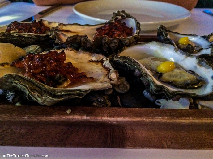 Oysters two ways, our entree at The Whale Restaurant in Narooma - 7 Eurobodalla Culinary Delights That Should Not to Be Missed - The Trusted Traveller