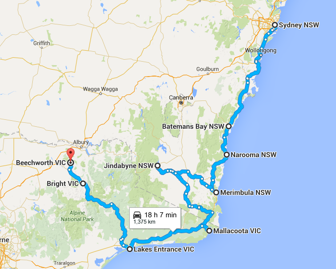 A map of where we have been in Aprill - How Much it Costs to Drive Around Australia - Month 1 - The Trusted Traveller