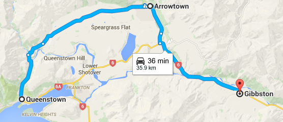 The location of the Gibbston Valley to Queenstown & Arrowtown - A Self Guided Wine Tour of the Gibbston Valley, New Zealand - The Trusted Traveller
