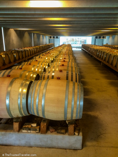 The barrel room at Peregrine - Self-Guided Wine Tour of the Gibbston Valley, New Zealand - The Trusted Traveller