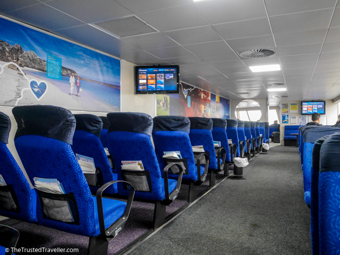Comfortable inside seating on the SeaLink Kangaroo Island Ferry - How to Get to Kangaroo Island (plus the best ways to get around) - The Trusted Traveller