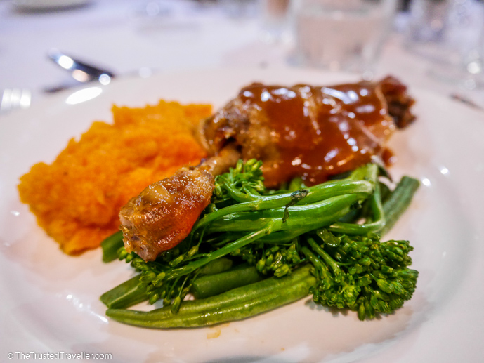 Roast duck leg with sweet potato mash and greens - Our Luxury Murray River Cruise Aboard the PS Murray Princess - The Trusted Traveller