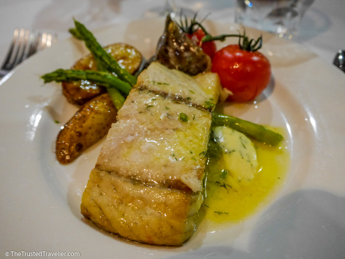 Grilled barramundi with a herb butter, veg and saute potatoes - Our Luxury Murray River Cruise Aboard the PS Murray Princess - The Trusted Traveller