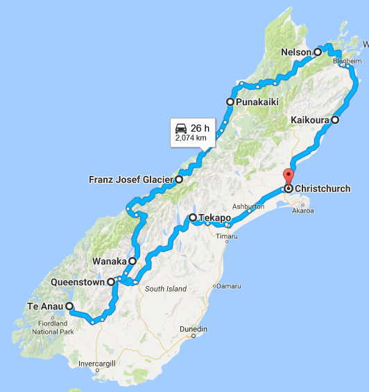 South Island Map Of New Zealand.Two Week New Zealand South Island Road Trip Itinerary