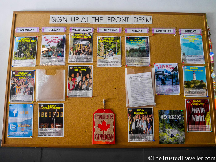 Activities board at reception - Hostel Review: HI Vancouver Central - The Trusted Traveller