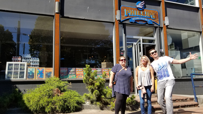 Our Little tour group outside Phillips Brewing - How to Visit the Best Craft Breweries in Victoria BC - The Trusted Traveller