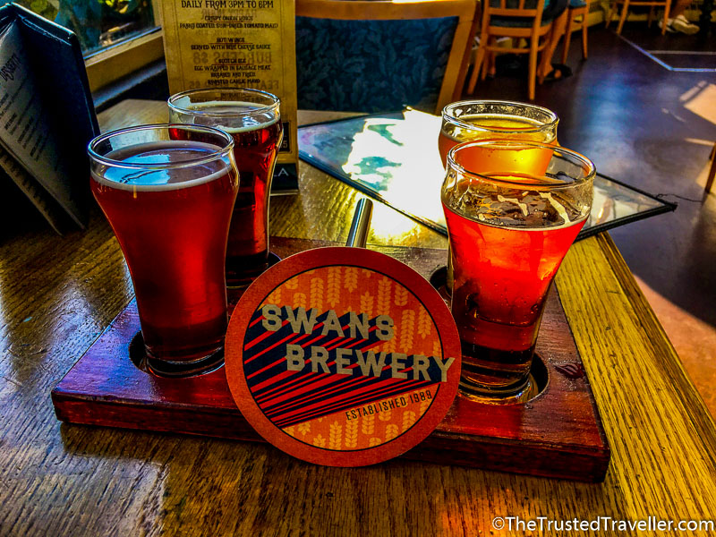 Tasting Paddle at Swans Brewery - How to Visit the Best Craft Breweries in Victoria BC - The Trusted Traveller