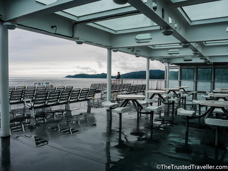 Seating on the deck of the BC Ferries Inside Passage Day Cruise - How to Cruise the Inside Passage for Cheap - The Trusted Traveller