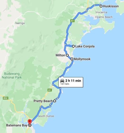 Jervis Bay to Batemans Bay Map - NSW South Coast Road Trip Itinerary - The Trusted Traveller