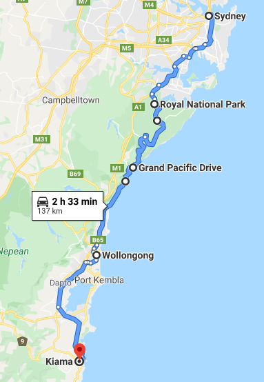 Sydney to Kiama Map - NSW South Coast Road Trip Itinerary - The Trusted Traveller